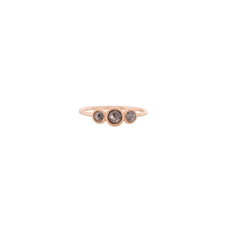 Moonstruck Ring - 14k Rose Gold, Grey Diamond