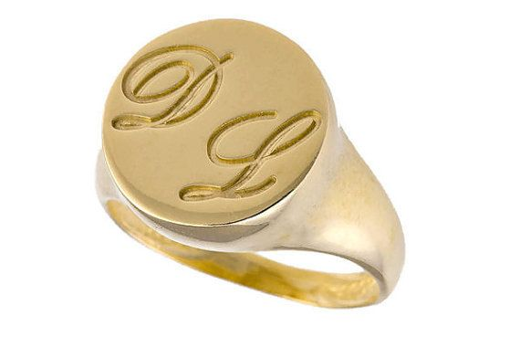 Gold initials ring. Personalized ring. Unisex ring. Gold personalized ring. Signet ring. Initials gold ring. Personalized initial ring.