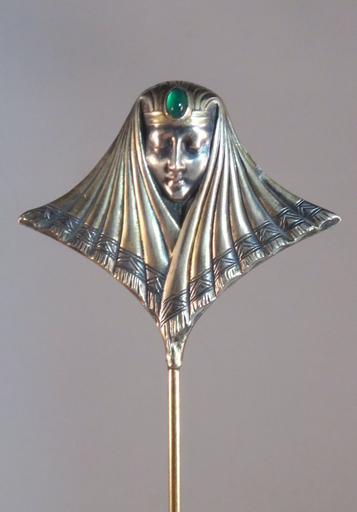 ANTIQUE STERLING SILVER HAT PIN BROOCH HATPIN ART NOUVEAU WOMAN HEAD ART DECO