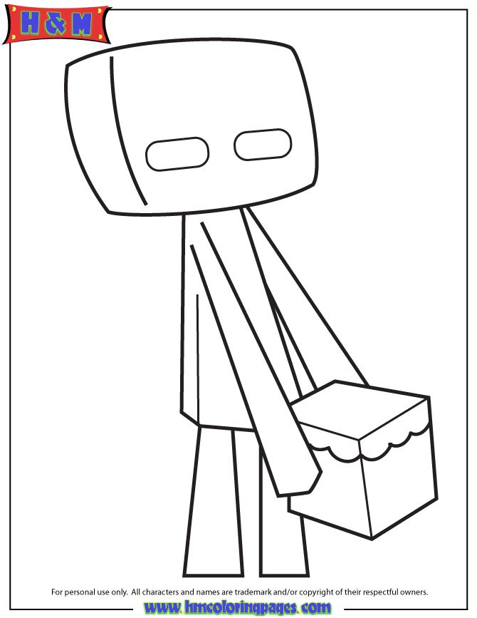 Cute Cartoon Enderman Coloring