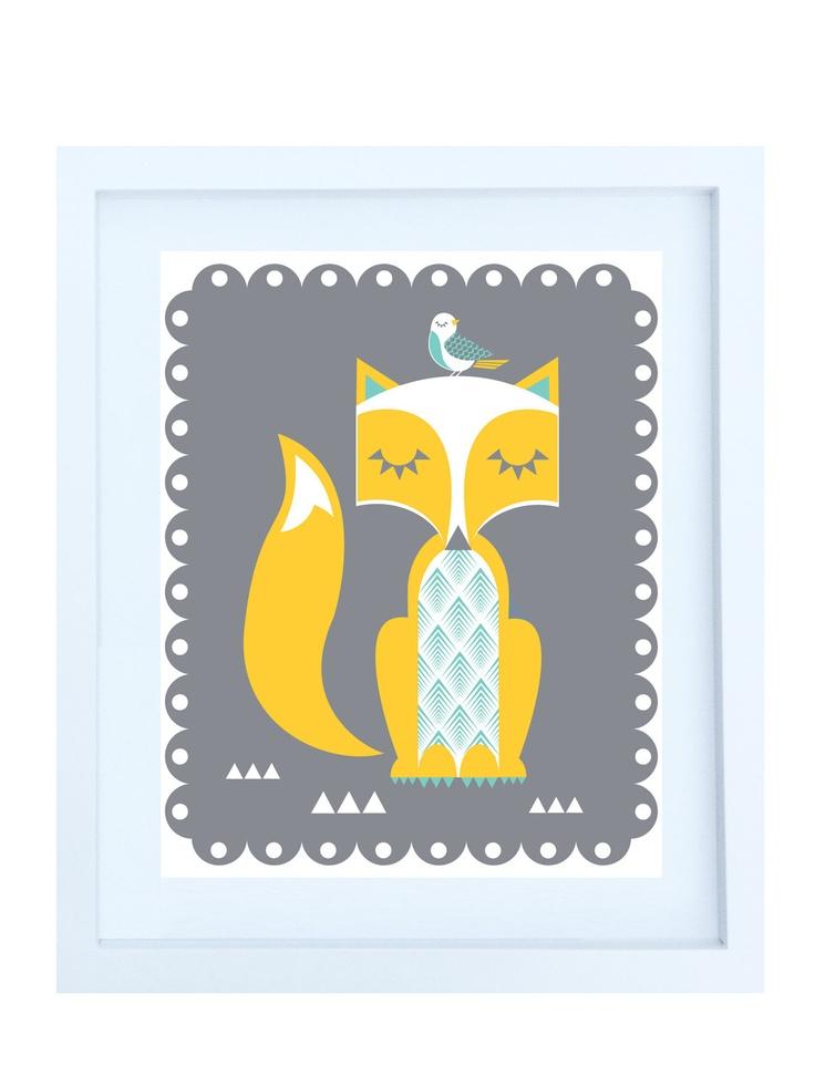 "Woodland Fox Illustration, 8""x10"" Print in Yellow, Grey & Teal via Etsy."
