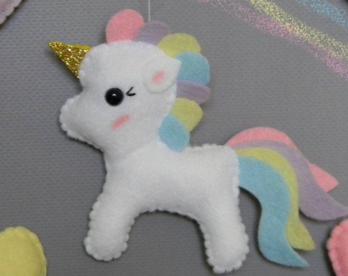 Unicorn felt ornament Kawaii Unicorn cake topper Unicorn birthday Unicorn baby mobile Unicorn nursery decor