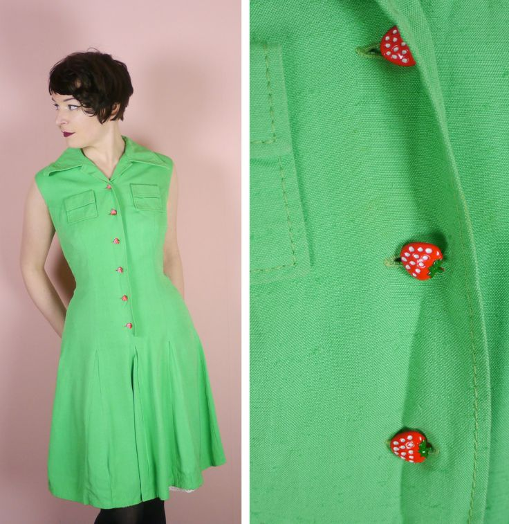 Cute and so colourful summer dress in the brightest green. Fabric is a spun viscose, with a texture similar to linen. Its fully lined and the lining of the skirt has a small lace trim. Large pointed collar. Two small patch pockets on the bust and front buttoning through to the hip. The buttons are very cute - little red strawberries. The skirt has a stitched in darts for a box pleat effect. Label is Sixth Sense. The dress is not labeled with a size but fits approx like a modern day Large…