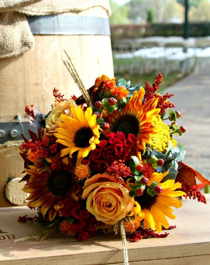 Sunflower bouquet.- find loads of bouquet embellishments here http://shop.vibesandscribes.ie/