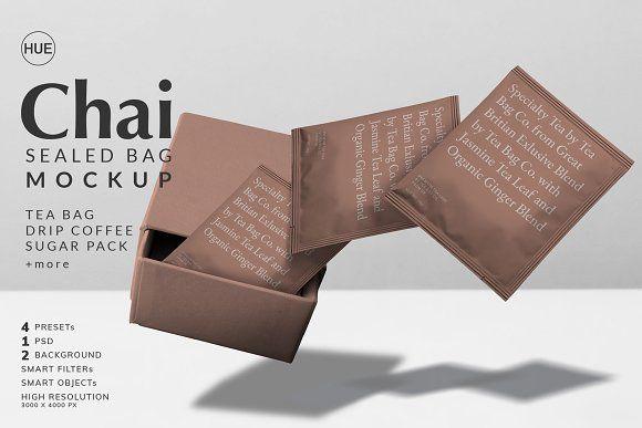 Download Chai Tea Bag Sealed Bag Mockup By Hue Lab On Creativemarket Bag Mockup Tea Bag Chai Tea
