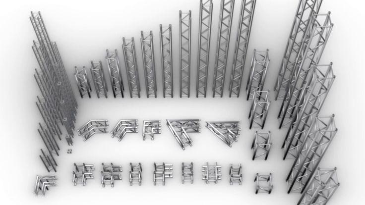 Square Trusses  66 Modular Pieces (After Effect Element 3d, 3DS MAX, C4D...