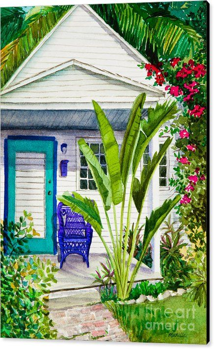 Key West Cottage Canvas Print featuring the painting Key West Cottage Watercolor by Michelle Wiarda