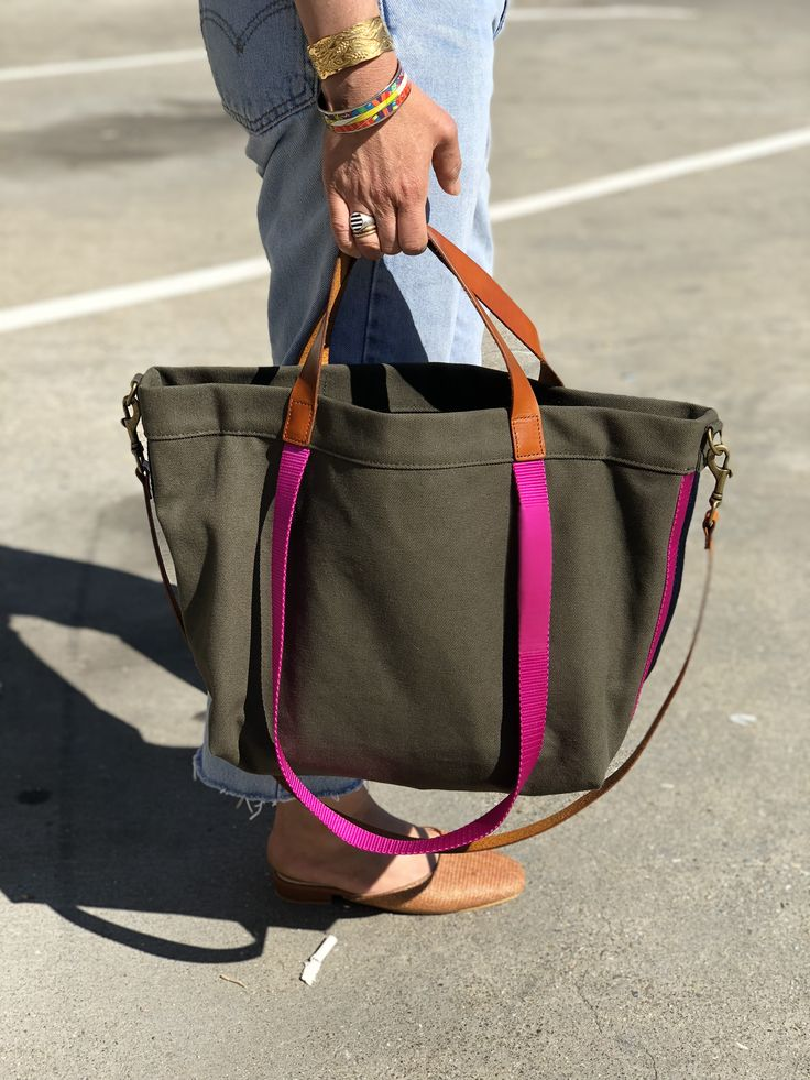 The lil EASY- olive nylon-with red and pink side stripe