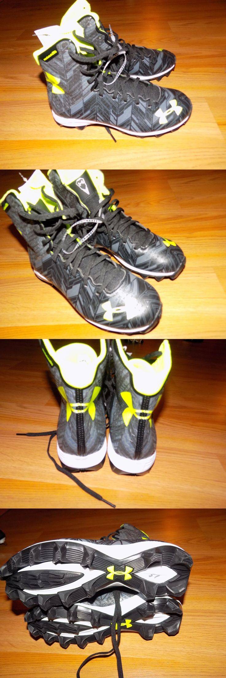 Youth 159118: Youth Size 5 Under Armour High Top Football Cleats Shoes Black Neon Yellow New -> BUY IT NOW ONLY: $60 on eBay!