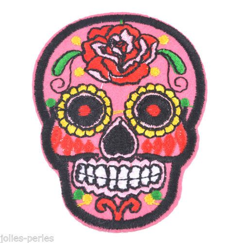 5PCs Embroidered Patches For Clothes Garments Iron Sew pink Skeleton 7.1x5.2cm