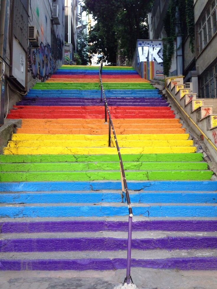 Rainbow stairs in Istanbul by Tophane tram station.