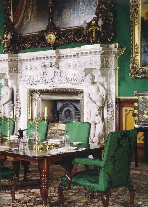 The Dining Room at Alnwick Castle. Photo by James McDonald for The Word of Interiors magazine. Pure Silk damask in forest green, matched to a remaining house fragment for the restoration of the State Dining Room walling and 32 Chippendale matching dining chairs. @Alnwick Castle #walling #chairs #furniture #chippendale #silk #damask #green #weaving #fabric #downtonabbey #brancastercastle www.humphriesweaving.co.uk