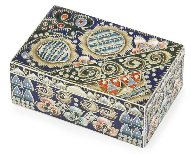A FABERGÉ GILDED SILVER AND CLOISONNÉ ENAMEL BOX, PROBABLY FEDOR RÜCKERT, MOSCOW, 1908-1917