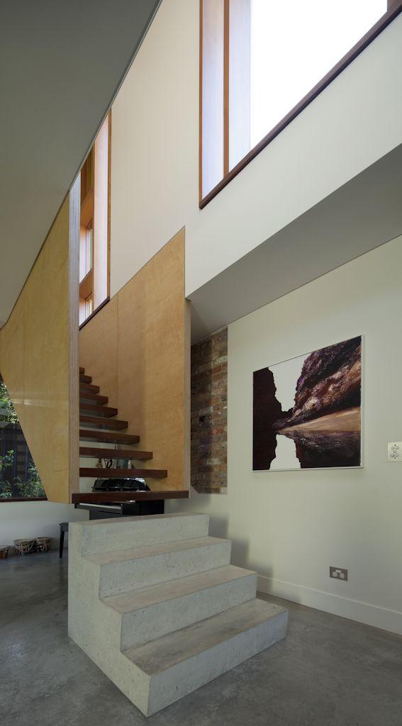 (c) Brett Boardman  Architecture, Stair, Concrete, Plywood, Timber, Design, Art, Window, Light  http://www.samcrawfordarchitects.com.au/campbell-house-2/#