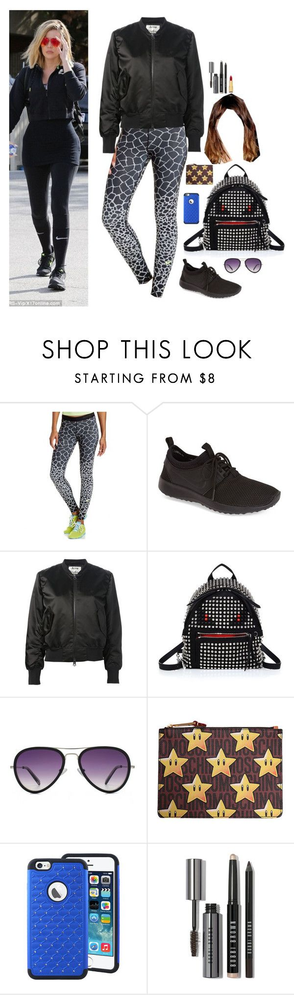 """""""B-sport day with Khloe in New York"""" by onedirectionnhllz ❤ liked on Polyvore featuring NIKE, Acne Studios, Fendi, HOOK LDN, Moschino, Bobbi Brown Cosmetics and Isaac Mizrahi"""