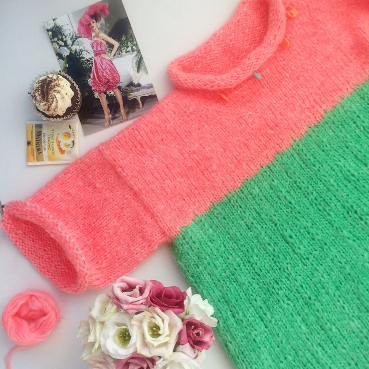 Knitted sweater, details in work