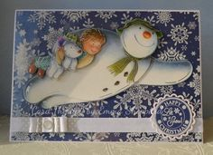 Christmas Card - The Snowman and The Snowdog Crafter's Companion decoupage on snowflake acetate http://cardtherapy.co.uk/snowman-snowdog-decoupage-delights/