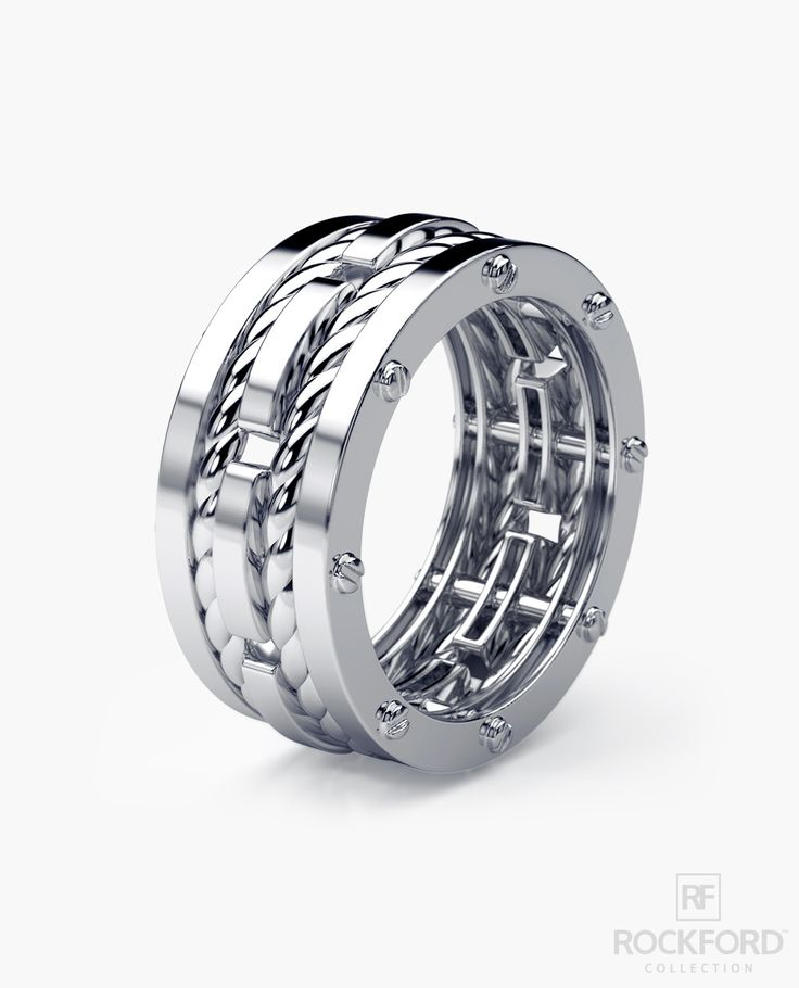 Three bold-looking bands connected by signature exclusive Rockford screws with rope designs flowing in between the bands, our ROPES men's ring has a very modern, striking look with a luxurious spin. T