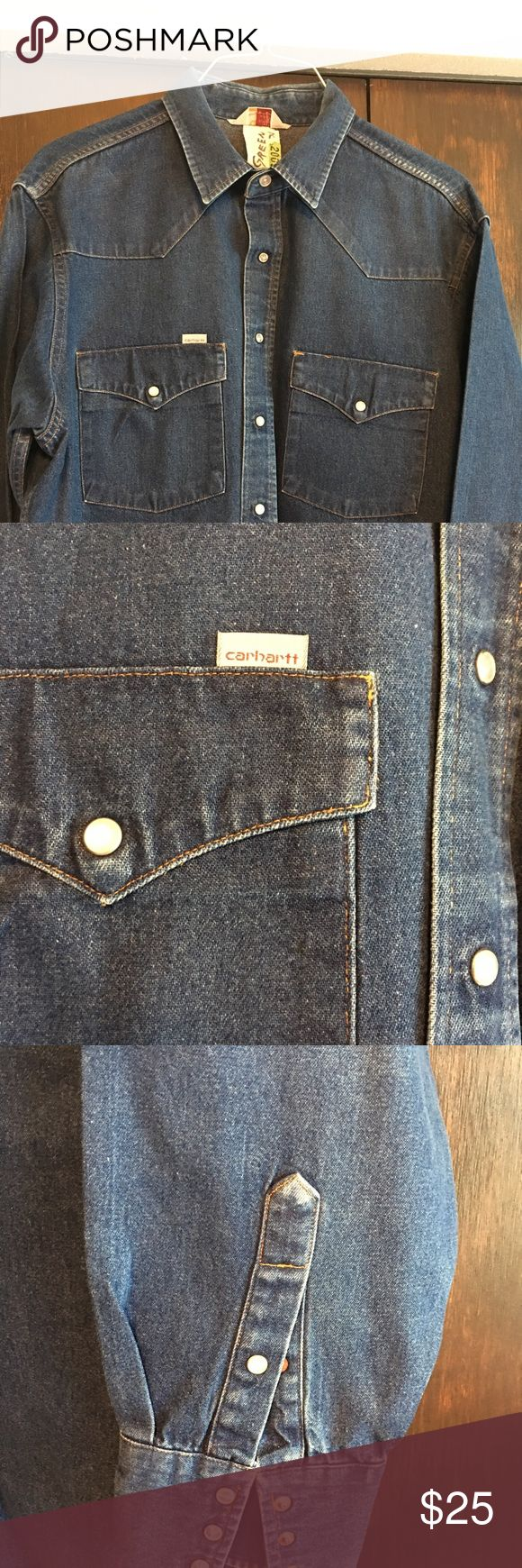 Carhartt XL Blue Jean Work Shirt XL Carhartt Rugged Outdoor Wear.  This shirt has never been washed or in the dryer. Has been dry cleaned and starched only. It's starched and ready to wear. It has 2 blemishes on the tail of shirt, you can't see it tucked in jeans. (See photo of blemish). Great shirt.. Carhartt Shirts Casual Button Down Shirts