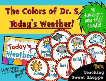 The perfect way to get your students interested in todays weather!  These cards can be used on a bulletin board (or your daily calendar board) to help students identify the day's weather.Comes with:Today's Weather Poster - 8.5 x 11 inches6 inch circles with sunny, partly cloudy, cloudy, rainy, stormy, snowy, windy, cold, hot, and mild.