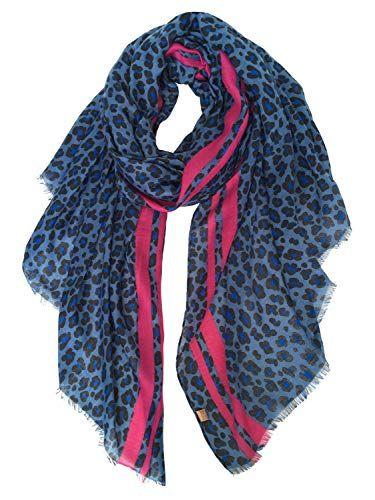d11a73d894d DAMILY Mode Écharpe Châle Imprimé Leopard Léger Foulard en Coton Chic Wrap  Étole Pour Femme Fille (Bleu Rose Rouge Coton)