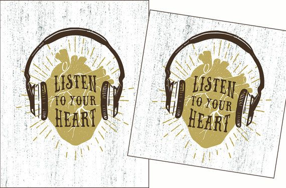 Listen to Your Heart Print. Heart Signs. Heart Headphones Brown Print in 5x7, 8x10, 11x14 inches, 135x135 and 210x297 (A4) mm. US$3.00 www.etsy.com/listing/508536621