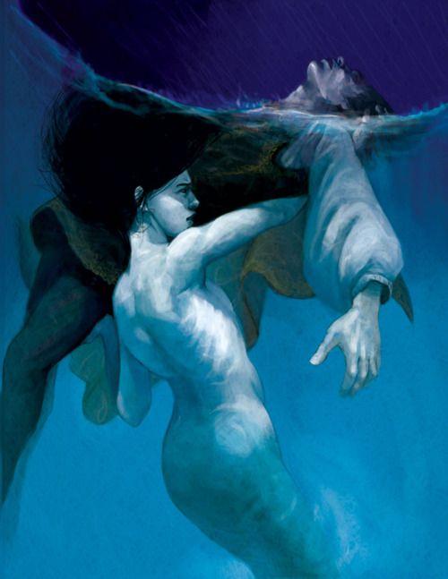 the little mermaid - Saving the Prince by Elizabeth Sherry: Siren, Fantasy, Paintings Art, Art Paintings, Illustrations, Tape Art, Sea, The Little Mermaids, Elizabeth Sherri