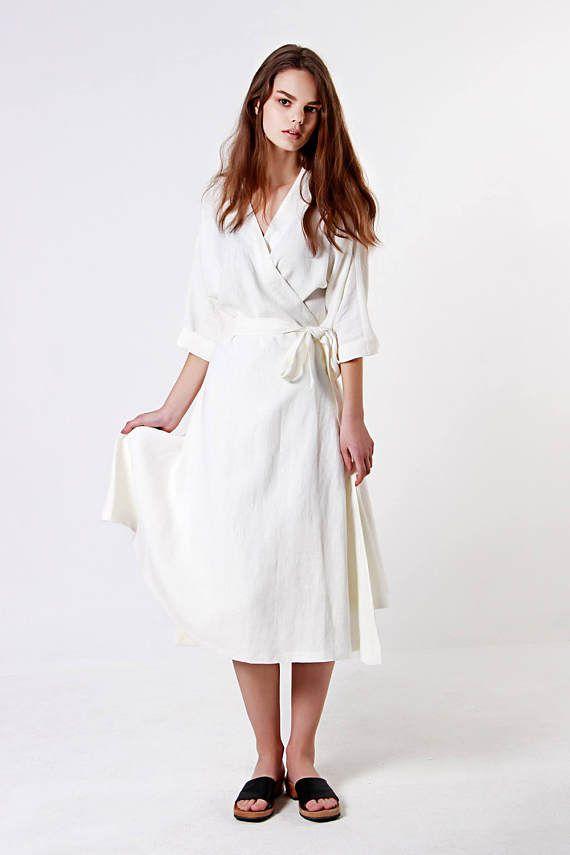 Weiche Leinenkleid, Wickelkleid, Leinen Kleid, Sommerkleid, weißes Leinenkleid, Wrap Leinen Kleider, weißes Kleid, urigen weißen Kleid