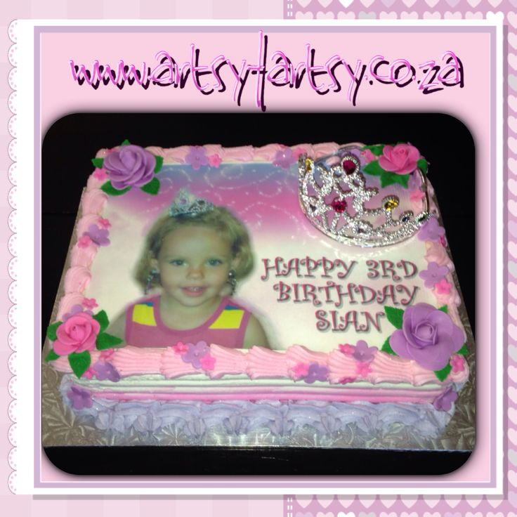 Princess Edible Picture Cake with Crown