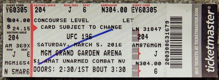 UFC ULTIMATE FIGHTING UFC 196  ORIGINAL USED TICKET MGM LAS VEGAS, MAR 5 2016 #UFC196