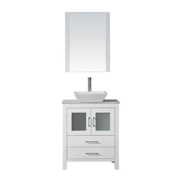 The Awesome Web Virtu USA Dior in W x in D Vanity in White with Marble Vanity Top in White with White Basin and Mirror