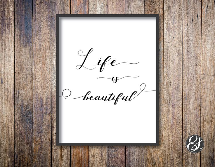 PRINTABLE Life is Beautiful Wall Hanging   Wall Decor   Dinning Decor   Living Decor   Kitchen Decor   Print Ready by ElgraphicsCanada on Etsy