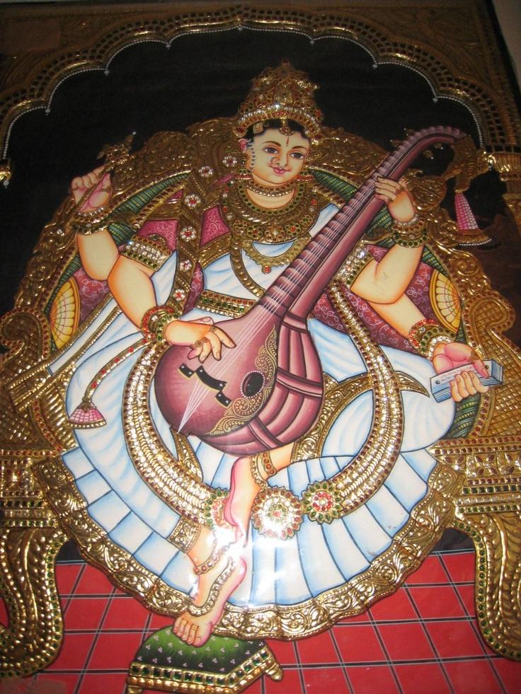 Godess Saraswathi - Tanjore painting