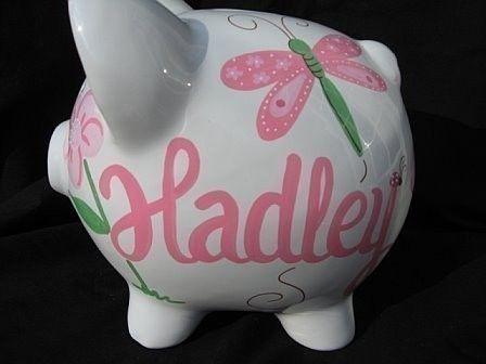 personalized ceramic piggy bank ladybug by andrewandelladesigns, $32.50