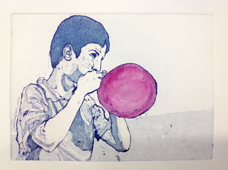 Balloon, Etching, aquatint 2015 by Laura Casas Valle