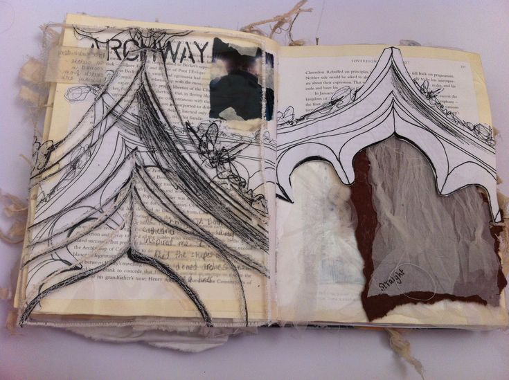 Architecture Sketchbook - art journal with observational drawings of archways; lovely mixed media, layered page // Kate Cosgriff