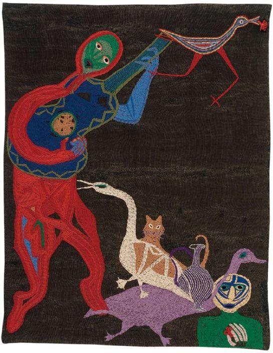 Thiago de Mello.  1960  165 x 130 cm.  Yute teñido bordado con lanigrafía.  Fundación Violeta Parra