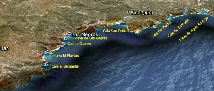 Mapa Playas De Rodalquilar A Agua Amarga Almería Cabo De Gata Playa