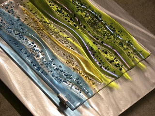 Fused glass with aluminum by Kim Merriman