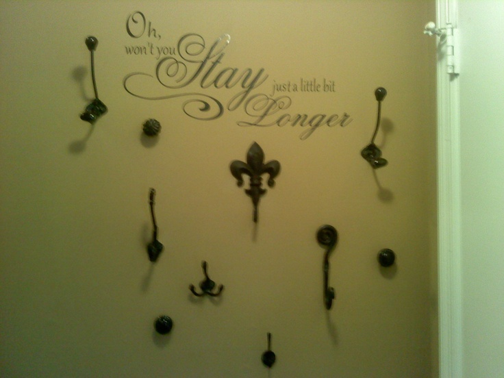 I needed a coatrack, but had no floor space for a freestanding one. So, I went to HL and got different coathooks and knobs, all black, and put them on the wall using 50lb screw anchors. I cut out a quote with my Cricut that I felt would invite people to hang up their coat and stay. We actually use it all the time!: Diy Knobs Coatrack, Friends Cristi, Amazing Friends, Floors Spaces, A Quotes, Coats