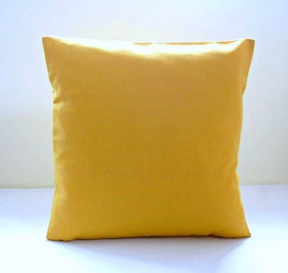 14 inch mustard cushion cover  solid accent by LittleJoobieBoo