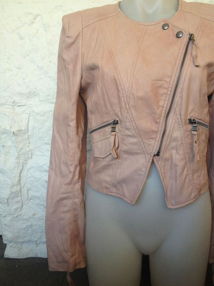 Ladies Guess Baby Pink Faux Leather Jacket, Size 10 - Now Selling! Click through to go to eBay auction.