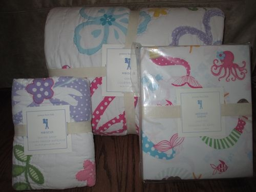 Pottery Barn Kids Hibiscus Twin Quilt Mermaid Sheet Set