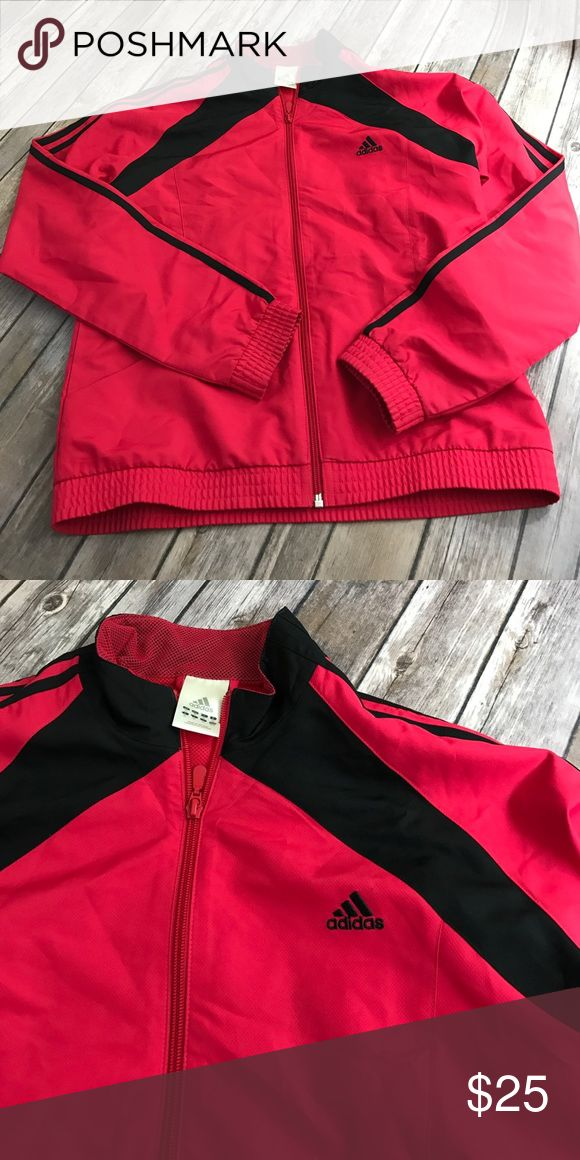 💕VINTAGE💕 Adidas red zip up wind breaker No flaws size Medium Adidas Tops Sweatshirts & Hoodies