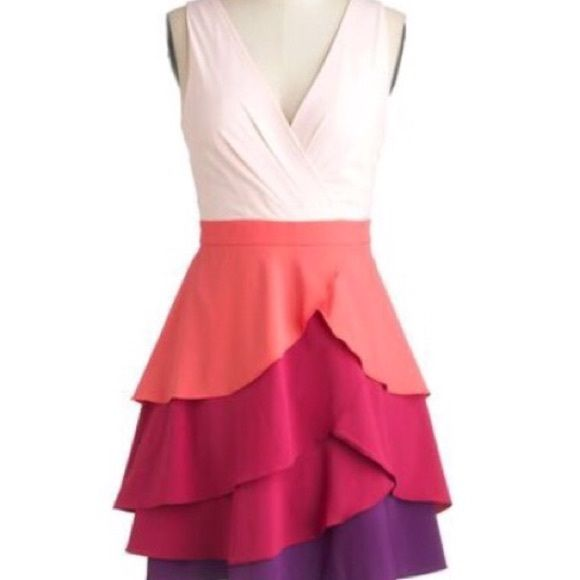 "💜 Minuet Color Wave Dress 💜 This tiered dress will clothe you in style of vibrant, colorful hues. The fluttering fabric is silky, and has fully lined frock, a surplice neckline and a tiered layered skirt of coral, raspberry, and grape tones. Shell: 96% Polyester, 4% Spandex. Lining: 100% Polyester. Hidden side zipper with hook & eye closure. 34"" in length. Minuet dba Audrea, Inc. Dresses"