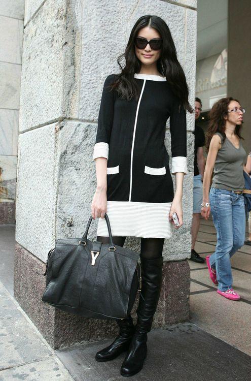 timeless knit dress....great bag & boots