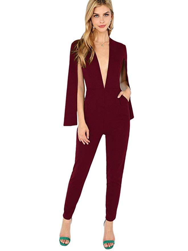 ROMWE Womens V-Neck Solid Cape High Waist Long Pants Jumpsuit