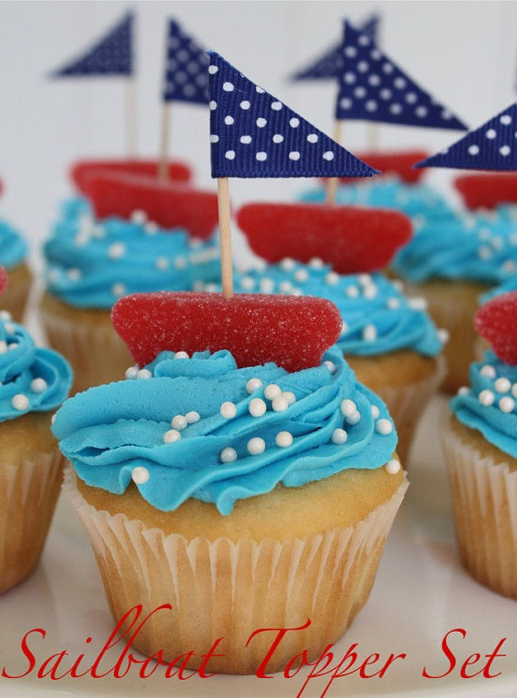 Sailboat Cupcakes- easy to make with gummy fruit slice, toothpick, and material for sail!