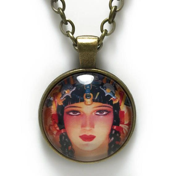 Mexican/Aztec Woman Necklace  Antique Tray Bezel with Clear