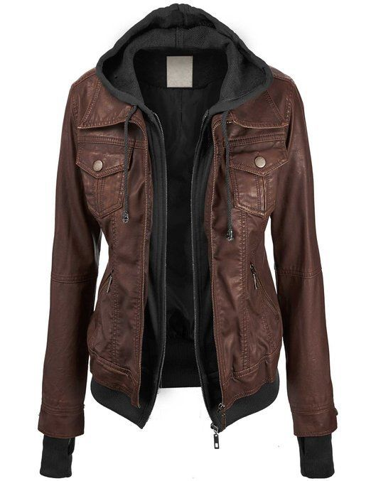 Lock and Love Women's 2-For-One Hooded Faux leather Jacket at Amazon Women's Clothing store:LOVEEE